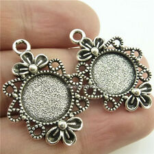 15016*15PCS Silver 12mm Frame Base Tray Holder Setting Pendant For Cameo Alloy