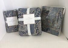 Pottery Barn LEANNE PAISLEY Full Queen Duvet & 2 Euro Shams Blue ~ NEW WITH TAGS