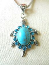 Glittery Usa Us Seller Stock New Necklace Pendant Turquoise Turtle