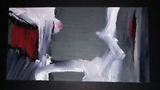 CUBAN ART: Original abstract acrylic painting by ANDY RIVERO / grey, red, black