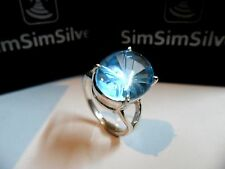 Exclusive Natural Blue Topaz Special Carved gemstone in 925 Sterling Silver Ring
