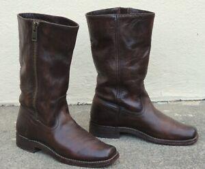 Frye Heath Womens 8 B Outside Zip Maple Brown Boots #77283