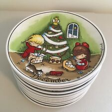 Set 12 Joan Walsh Anglund Plates Walter 1966 W Germany Porcelain Calendar Month