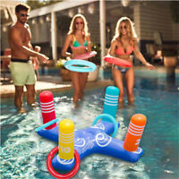 Inflatable Ring Toss Pool Game Toys Floating Swimming Pool Ring with 4 Pcs Rings