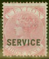 Ceylon 1869 3d Carmine-Rose SG07 Fine Mtd Mint