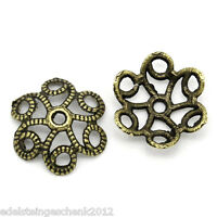 100 Bronzefarben Hohle Blumen Perlenkappen Spacer Endkappen 11mm x 10mm