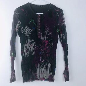 Marc Aurel Womens Top Size 36 Brown Purple Blue Long Sleeve Sheer Overlay Shirt
