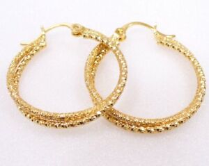 Creole Hoop Earrings 3cm 4cm Medium 18K Gold Plated White With Yellow Tone UK