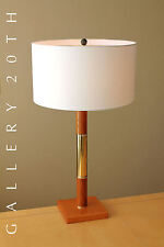 RARE! WALL STREET EXECUTIVE BRASS AND WALNUT DESK LAMP! DESIGNER DECOR VTG RETRO