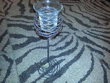 Hallmark VOTIVE TEA LIGHT CANDLE HOLDER Glass & Tall Metal Wire Stem BROWN New
