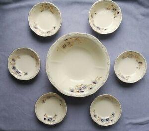 Zsolnay Porcelain Blue Flower Salad Bowl Set Hand Painted