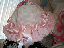 OOAK Vintage Pink Chenille Pink Roses Embellished Easter Hat Hand Decorated