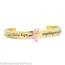 Quote Breast Cancer Awareness Jewelry Pink Ribbon Cuff Bracelet Gold Survivor