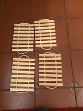 4 X SOLID WOOD AND ROPE PLACEMATS DINING/DINNER TABLE PLACE MATS #D