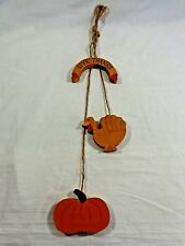 """Thanksgiving Wall Hanging 22"""" Hand Painted Wood Give Thanks Turkey Pumpkin"""