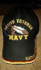 U.S. NAVY VETERAN NATIVE AMERICAN BEADED HAT