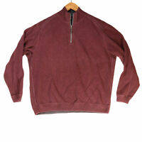 Tommy Bahama Men's Maroon Reversible 1/4 Zip Pullover Sweater - Size Medium