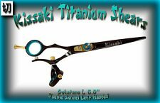 "Kissaki Left Hand Hair Scissors 6.0"" Gokatana L Black Blue DOUBLE SWIVEL Shears"