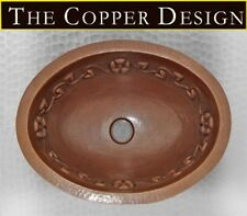 """Hand Hammered Copper Oval Bath Sink with Flower Design 19""""x14"""""""