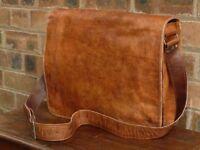 """18"""" Men's Large Genuine Vintage Leather Messenger Laptop Briefcase Satchel Bag"""