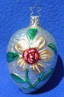 "Vintage 4"" Inge FLOWER Mercury Glass & Glitter TEARDROP Xmas Tree Ornament #5223"