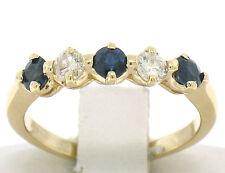 14k Yellow Gold 0.65ctw Round Sapphire & Diamond Shared Prong Wedding Band Ring