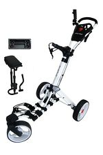 Founders Swerve 360 Swivel Wheel Qwik Fold Golf Push Cart with Deluxe Seat White
