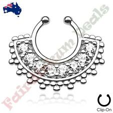Piercing Septum Hanger with Clear Gems Large Silver Ion Plated Fan Non