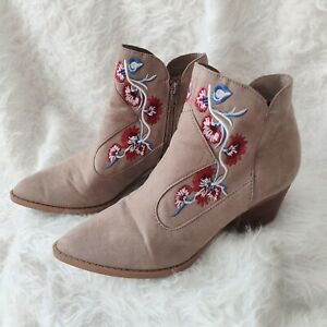 Carlos Santana Embroidered Suede Booties 9 Tan Red Blue Ankle Boots