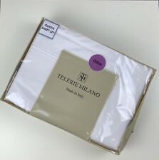 Telerie Milano White 100% Cotton Made in Italy Queen bed sheet set