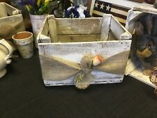 Shabby Chic Antique White Hand Painted Wooden Crate With Burlap Ribbon n Rose