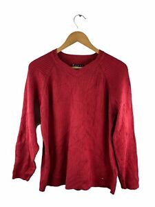 VINTAGE Tommy Hilfiger Knit Jumper Mens Size S Red Pullover Ribbed Casual Crew