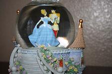 Retired Disney's CINDERELLA PRINCE MUSIC BOX SNOWGLOBE CLOCK SO THIS IS LOVE