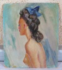 huile sur panneau carton femme peinture tableau gout Domergue