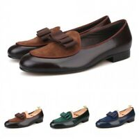 Handmade Bowtie Banquet Patent Leather Mens Loafers Party Round Toe Formal Shoes