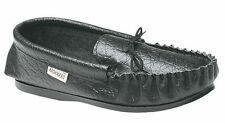 MENS SIZE 7 8 9 10 11 12 BLACK LEATHER BRITISH MOKKERS MOCCASIN LACE UP SLIPPERS