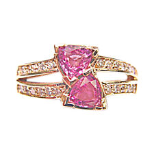 PINK SAPPHIRE 1.16 CT TRILLION SHAPE DIAMOND .28 CT ROUND SHAPE 14 K YELLOW GOLD
