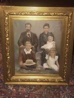 "Vintage painting  Victorian family portrait Gold Framed  Artist Signed 24""X 28"""
