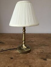 """VINTAGE 20thc MODERN ANTIQUED BRASS LAMP WITH SHADE   8"""" X 14"""""""