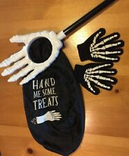 Halloween Skeleton Hand Candy Trick or Treat Bag And Skeleton Mittens