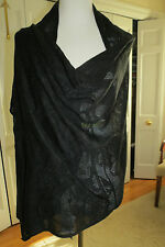Magaschoni Women's Black Mixed Stitch Cashmere Blend Wrap NWT $298