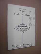 CATALOGUE OF MUSIC & BOOKS ON MUSIC. N.S.59. KENNETH MUMMERY. BOURNEMOUTH. 1987