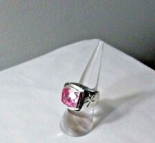 silver plated 925 pinky ring simulated pink gemstone sq women men size 6.5