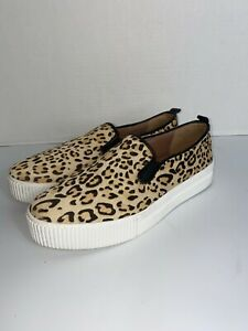 Halogen Platform Sneakers Baylee Leopard Size 11 Slip On Calf Hair