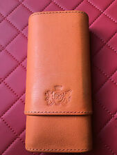 BRIZARD AND & CO GENUINE LEATHER HERMES ORANGE 3 CIGAR CASE WITH POUCH EBONY TOP