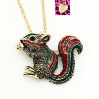 Betsey Johnson Retro Crystal Squirrel Pendant Women's Animal Necklace/Brooch Pin