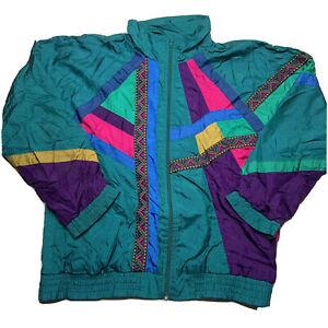 Vintage 80s 90s Sunterra Petite Zip Windbreaker Jacket Abstract Rainbow Size PM