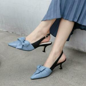 Women Slingback Lady New Stylish Pointed Toes Kitten Heels Pu Shoes Pumps Chic