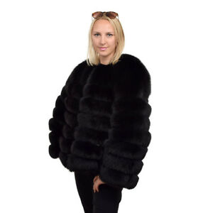 Genuine Black Fox Fur Jacket Coat Real Fur FOX