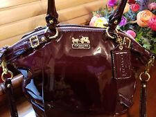 Coach Madison Lindsey Patent Leather Bag / Tote / Plum / accessories & Dustbag